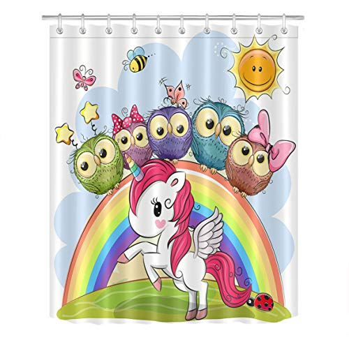 (LB Unicorn Shower Curtain Little Pony Rainbow Owl Kids Shower Curtains for Bathroom with Hooks,Waterproof Polyester Fabric 72x72 inch Bathroom Decor )