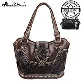 Montana West Concealed Gun Carry Purse Tooled Leather Handbag Western Style Purse (Coffee)