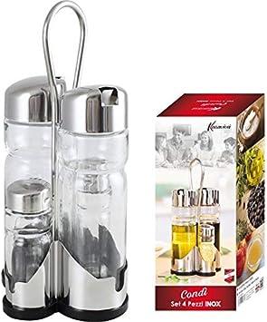 Maurys Condì Menage de mesa restaurante 4 piezas acero inoxidable salero pimienta aceite vinagre con vertedor: Amazon.es: Hogar