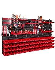 76 stapelboxen gereedschapshouder wandrek werkplaatsrek gereedschapswand 156 x 78 cm gereedschapshouder opslagsysteem opbergkast extra sterke wandplaten plank uitbreidbaar werkplaatsrek magazijn