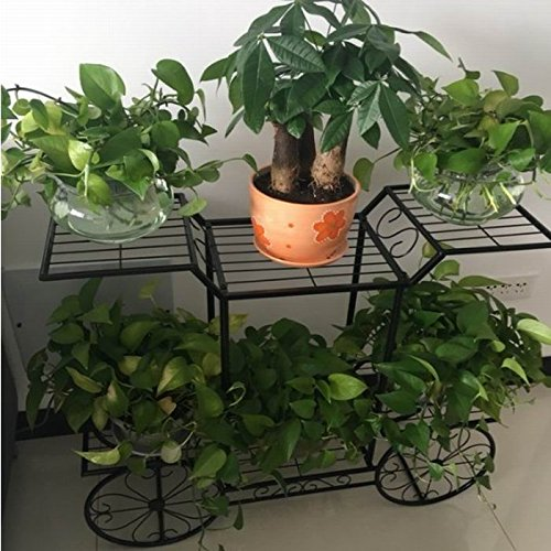 European - style balcony flower frame creative bicycle iron flower stand living room multi - storey flower racks ( Color : Black ) by Flower racks - xin