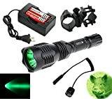 Golden Eye Green 350 Lumens Cree led Tactical Flashlight 250 Yard Long Range Perfect for Coyote Hog Hunting with Remote Pressure Switch Barrel Mount Rechargeable battery and Charger