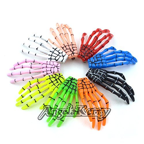 AngelaKerry 10pcs Mix 10 Colors Skeleton Hand Bone Hair Clip Hairpins for Halloween Party (Pack of 10pcs - Random Colors) (Red Contact Lenses Halloween)
