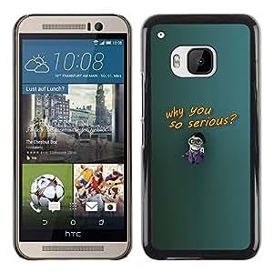 Be Good Phone Accessory // Dura Cáscara cubierta Protectora Caso Carcasa Funda de Protección para HTC One M9 // Why So Serious Cartoon Figurine Big Glasses