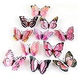 Koly®12x farfalla 3D Wall Sticker magnete del frigorifero della decorazione della stanza della decalcomania Applique (Rosa)