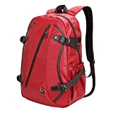Laptop Backpack - Evecase Waterproof PU Leather School / Daily Backpack fits up to 15.6inch Laptop Chromebook Ultrabook Macbook - Red