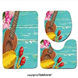 3 Piece Bath Rug Set Nalahome design-303664526 Ukulele with Hawaii Style Backgroun Bathroom Rug(15.7''x23.62'')/large Contour Mat(15.7''x15.7'')/Lid Cover(15.7''x16.9'')For Bathroom(green)