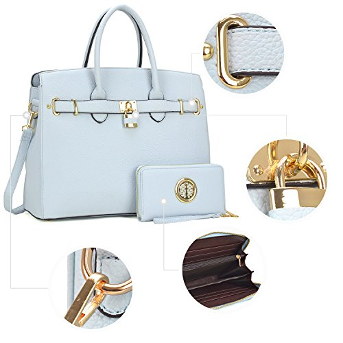 Women 2 light Handle Leather Pieces Shoulder Litchi Handbag Satchel Large Bag With Set Leather Top Purse Blue Designer Wallet Ixx0wv