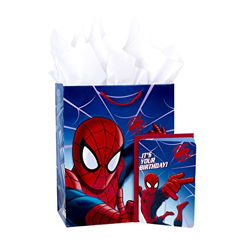 Hallmark Large Birthday Gift Bag with Card and Tissue Paper (Spider-Man) ()