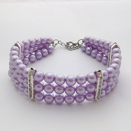 PETFAVORITES Fancy 3 Row Pearls Diamond Dog Necklace Collar Jewelry with Bling Rhinestones for Pets Cats Small Dogs Girl Teacup Chihuahua Yorkie Clothes Costume Outfits (Purple, Neck Size: