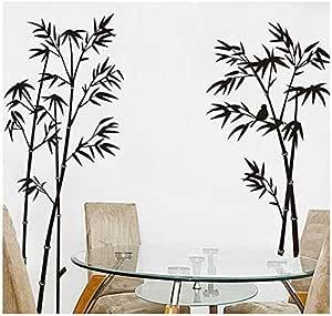 ملصق جداري أسود من الخيزران قابل للإزالة لديكور المنزل وغرفة المعيشة