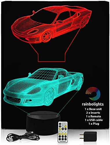 NIGHT LIGHT FOR KIDS - Premium 3D Illusion Night Light Set - 2 Amazing Sports Car Designs in 1 box - 7 Color with USB Cable and Mains Plug and - Ferrari Makes Who