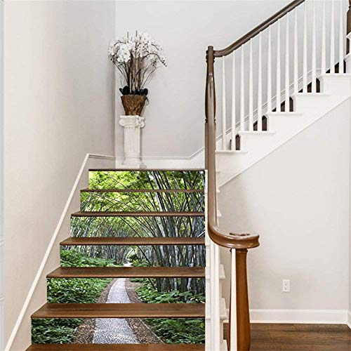 "FLFK 3D Bamboo Forest Path Stair Stickers Self-Adhesive Waterproof Vinyl Staircase Stickers 39.3"" w x 7"" h x6pcs"