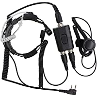 KENMAX Military Police Equipment Throat Mic Air Tube PTT Headset for Walkie Talkie Two Way Radio Baofeng BF-F8HP GT-3 BF-F9V2+ UV-6R UV-5X GT-1 Wouxun KG-UV8D KG-UV6D KG-UV899