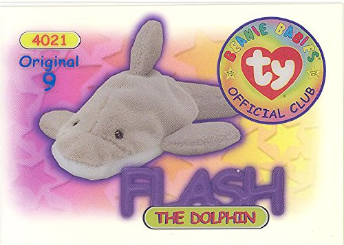 BBOC Cards TY Beanie Babies Series 1 Original 9 (Blue) - Flash The Dolphin