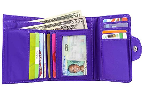 Women's Purple to Big Tri Wallet Up Cards Trixie 30 Fold Holds Slim Skinny R1q5TU