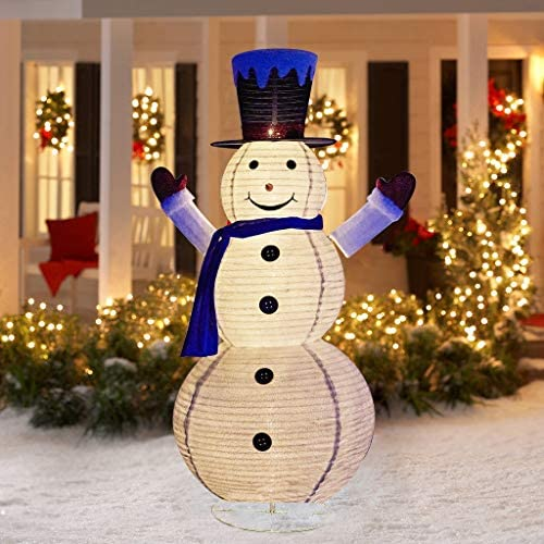 EAMBRITE 6FT LED Collapsible Snowman with 120 Lights Outdoor Lighted Christmas Snowman Plug in for Christmas Yard Indoors Outdoors Decoration
