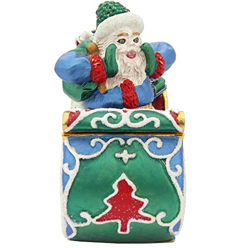 (Santa Clause On A Green Sleigh Figurine Trinket, Pill, Jewelry Box Enameled With Swarovski Elements Crystals)