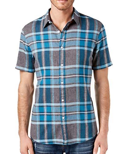 American Rag Mens Linen Button Down Plaid Shirt Blue 2XL