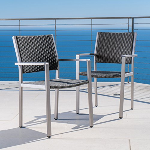Coral Bay Outdoor Wicker Dining Chairs w/Aluminum Frame (Set of 2)
