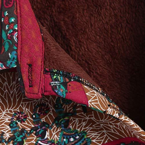 Veste Revers Lubity Manteau Blouse Plus Taille Blousons Manches Femme Occasionnel Imprimé Velours Grande Chaud Floral Ethnique Coton Hiver Pas Poche De Rouge1 Bouton Longues Lâche Long Chic Cher Lin radArxz