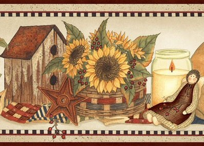 Angels, Sunflowers and Wreaths Wallpaper Border