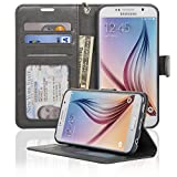 Samsung Galaxy S6 Wallet Folio Leather Life Protective Case with Four Card Pockets & Money Slot, Removable Strap - Navor (Gray)