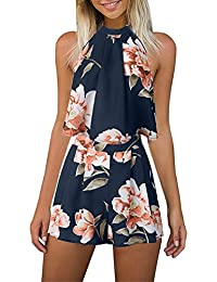 4b28c5125b88 Women s Floral Printed Summer Dress Romper Boho Playsuit Jumpsuits Beach 2  Piece Outfits Top with Shorts