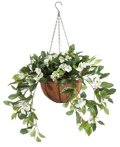 OakRidge Fully Assembled Impatiens Hanging Basket - Large Artificial Flower Outdoor or Indoor Decoration with Hook - White