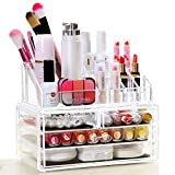 Kaluo Stackable Acrylic Makeup Storage Organizer Set 4 Drawers and 16 Grids Cosmetic Storage Case 9.4''x 5.1''x 7.2''