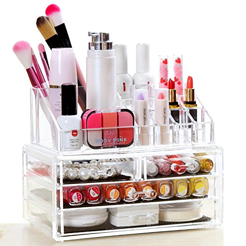 Lantusi Clear Acrylic Makeup Organizer Home Cosmetics and Je