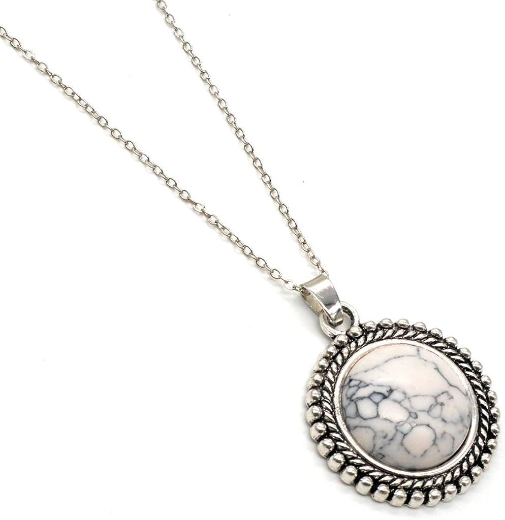 ZHEPIN - Collar con colgante de cabujón de aleación de plata envejecida para mujer