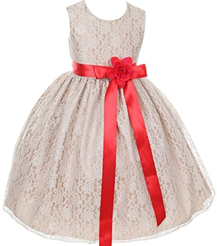 Swirl Lace Mini Dress - Big Girls' Champagne Dress Lace Custom Ribbon Flowers Girls Dresses Red Red 8
