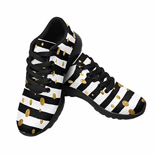 Interesprint Mujeres Trail Running Zapatillas Jogging Ligero Deportes Walking Athletic Sneakers Gold Confetti Pattern On Stripe Background Multi 1