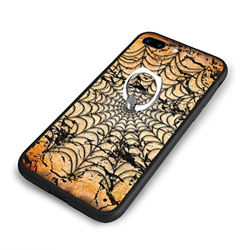 Halloween Spider Web Background Phone Case+Finger Ring Set Compatible with iPhone 7/8 Plus Rotation Kickstand Grip ()