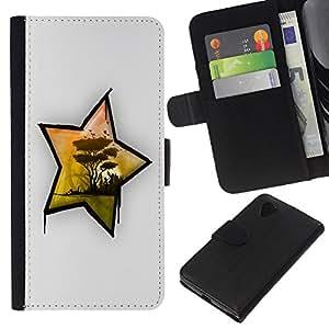 Stuss Case / Funda Carcasa PU de Cuero - ?frica Estrella - LG Nexus 5 D820 D821