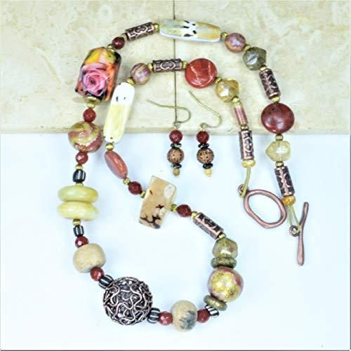 Mammoth Leather Bones - Woolly Mammoth Bone Copper Wire Shell Necklace w/FREE Earrings