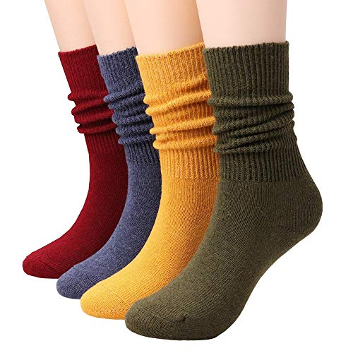 (Women Cotton Socks Mid Calf Casual Crew Socks Vintage Knit Women's Cotton Socks By CHOEES (4 Solid Colors Pack of 4 Size 5-10))