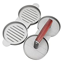 SODIAL(R) Red handle double grid Hamburger meat pie Mold press