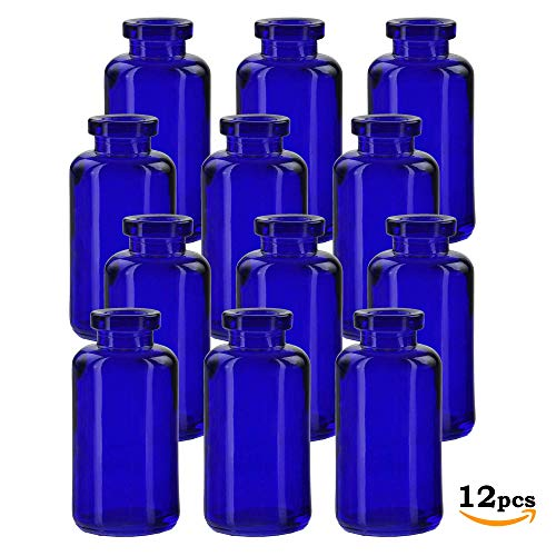 7d17b3e94cec Glassnow C6535G15-N Apothecary Glass Bottle No Cork, 3.4oz, 12 Pieces,  Cobalt Blue, 3.4 oz,