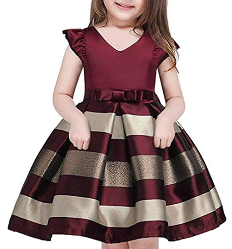 AIMJCHLD Teenage Girls Formal Dress Christmas Easter Striped Party Birthday Pageant Flower Girl Dresses Size 9T 10T (Wine, 160) -