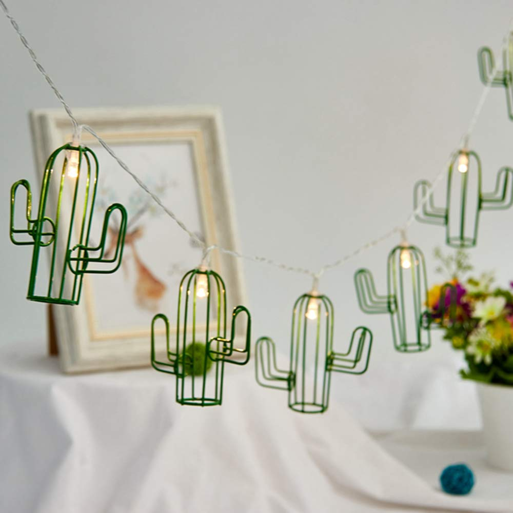 Gzero Iron Art Cactus String Lights, 10ft 20 LEDs Decorative Lights Battery Powered with Remote for Indoor Outdoor Gardens Bedroom Wedding School Home Party Decor