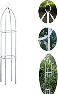 AngJi Garden Trellis for Climbing Outdoor Plants,Obelisk Trellis Iron Metal Trellis Flower Rose Support,White