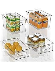 FINEW Set van 4 stapelbare koelkast-organizers, 2 grote en 2 middelgrote opbergdozen voor vriezers, keukenwerkbladen en kasten, Clear Plastic Pantry levensmiddelenbewaring, BPA-vrij