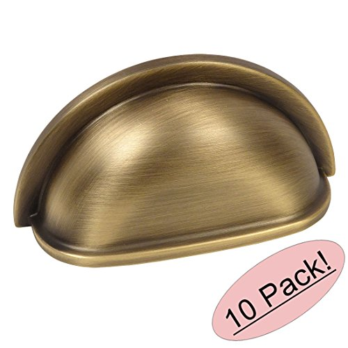 Cabinet Pull Antique Cup (10 Pack - Cosmas 4310BAB Brushed Antique Brass Cabinet Hardware Bin Cup Drawer Handle Pull - 3