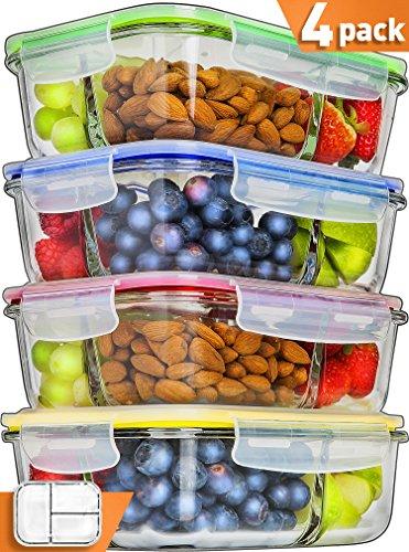 Glass Meal Prep Containers 3 Compartment - Food Containers Meal Prep Food Prep Containers Lunch Containers Glass Containers with lids Freezer Containers Bento Box Containers Bento lunch Box [4pk,34oz] ()