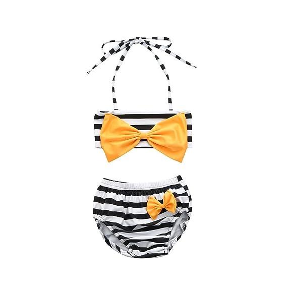 9e92b5eb18a70 Sunward8 Baby Girls' Swimwear Little Stripe Bow Halter Bikini Swimsuit  Bikini Set: Amazon.in: Clothing & Accessories