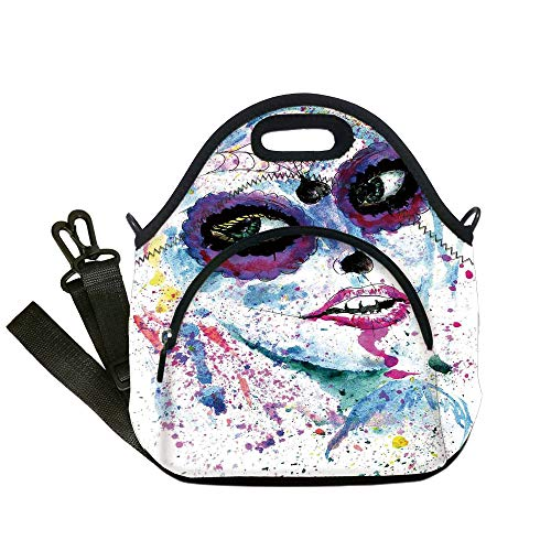 Insulated Lunch Bag,Neoprene Lunch Tote Bags,Girls,Grunge Halloween Lady with Sugar Skull Make Up Creepy Dead Face Gothic Woman Artsy,Blue Purple,for Adults and children ()