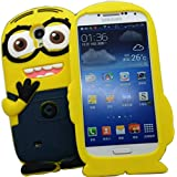 Go Crazzy 3D Cute Despicable Me 2 For Minions Soft Gel Rubber Silicone Protection Skin Case Cover For Samsung Galaxy S4 I9500 (Two Eyes Blue)