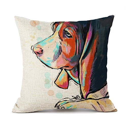 "Redland Art Cute Pet Basset Hound Dog Pattern Cotton Linen Throw Pillow Covers Car Sofa Cushion Cases Home Decor 18""X18"" Inch"